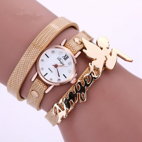 DUOYA D044 Women Long Wrap Leather Wrist Watch with Charm - BEIGE