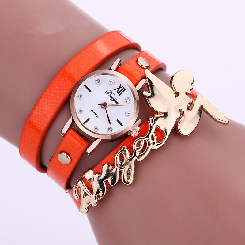 DUOYA D044 Women Long Wrap Leather Wrist Watch with Charm - ORANGE