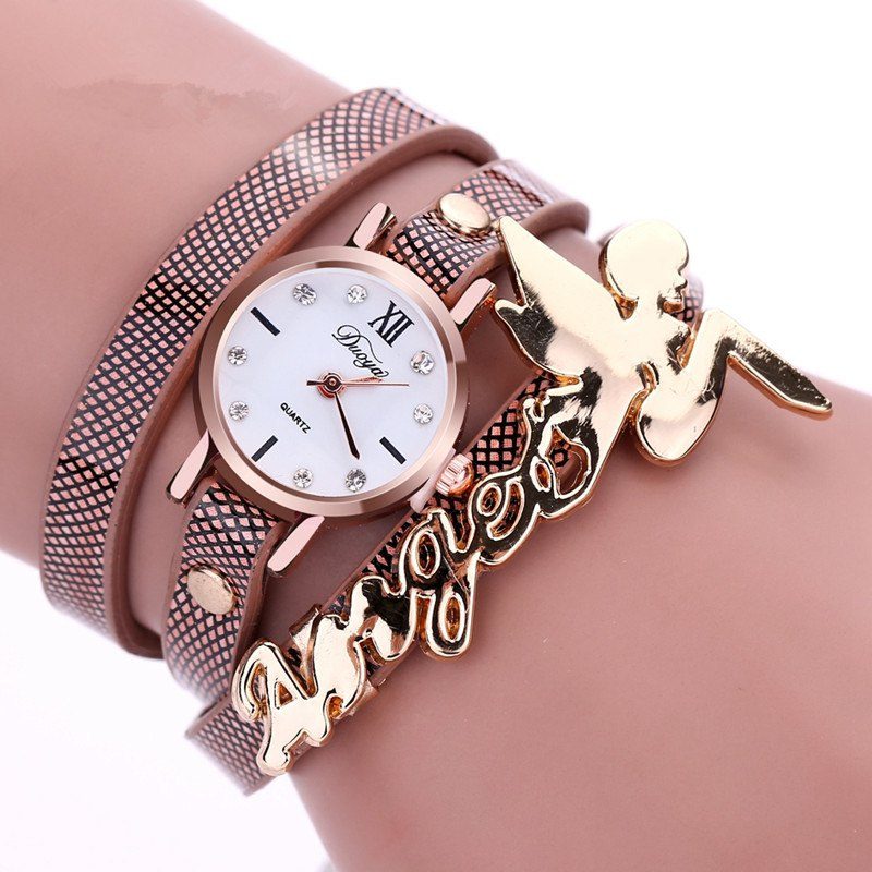 DUOYA D044 Women Long Wrap Leather Wrist Watch with Charm - BROWN