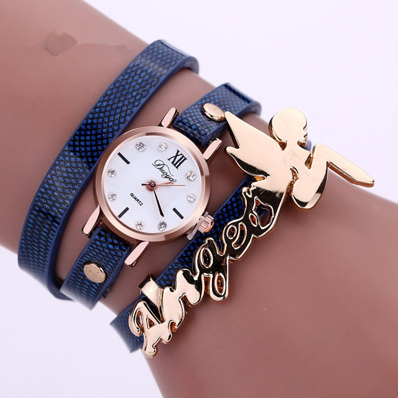 DUOYA D044 Women Long Wrap Leather Wrist Watch with Charm - BLUE