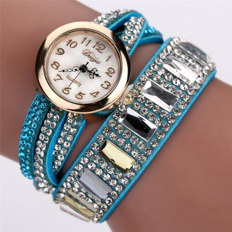 DUOYA D046 Women Vintage Arabic Numbers Rhinestones Wrist Watch - SKYBLUE