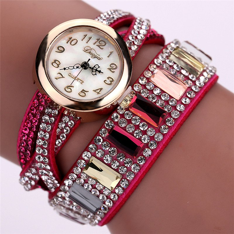 DUOYA D046 Women Vintage Arabic Numbers Rhinestones Wrist Watch - ROSE RED