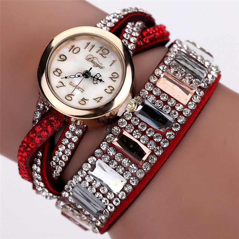 DUOYA D046 Women Vintage Arabic Numbers Rhinestones Wrist Watch - RED