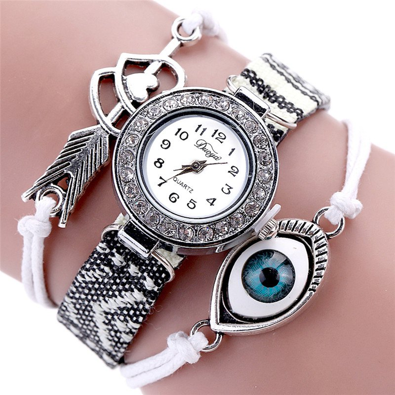 DUOYA D049 Women Vintage Folk-Custom Textile Quartz Wrist Watch - WHITE