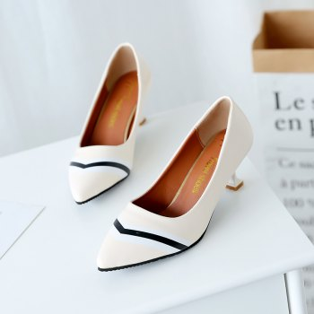 Double Color Fashionable Simple Shoes - OFF WHITE 35