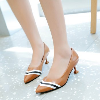 Double Color Fashionable Simple Shoes - BROWN 35