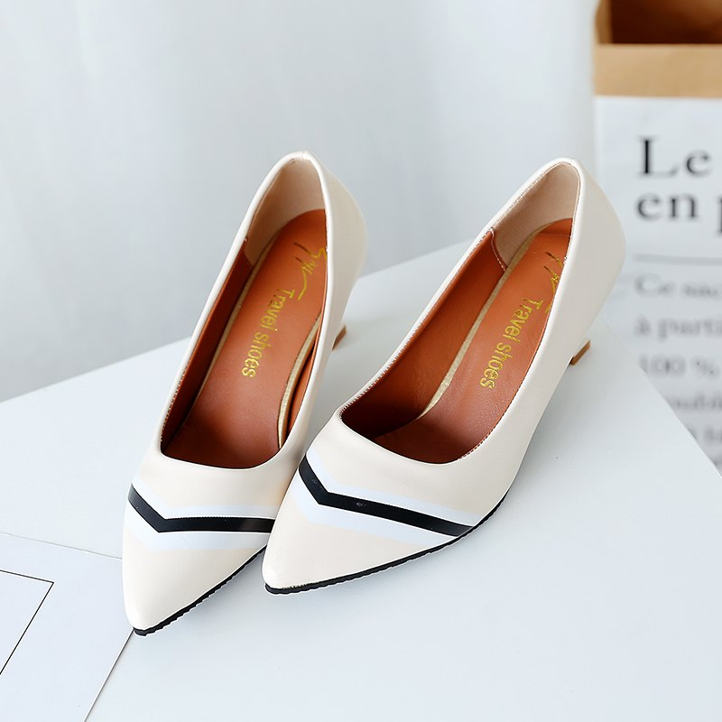 Double Color Fashionable Simple Shoes - OFF WHITE 36