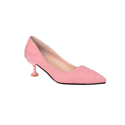 Flannelette Fashion Shallow Top Kitten Heels - PINK 39