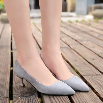 Flannelette Fashion Shallow Top Kitten Heels - GRAY 36
