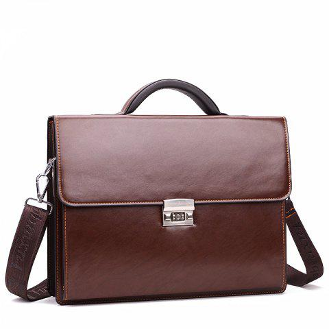 Men's handbag business briefcase three-digit password lock cross section man bag - DEEP BROWN HORIZONTAL