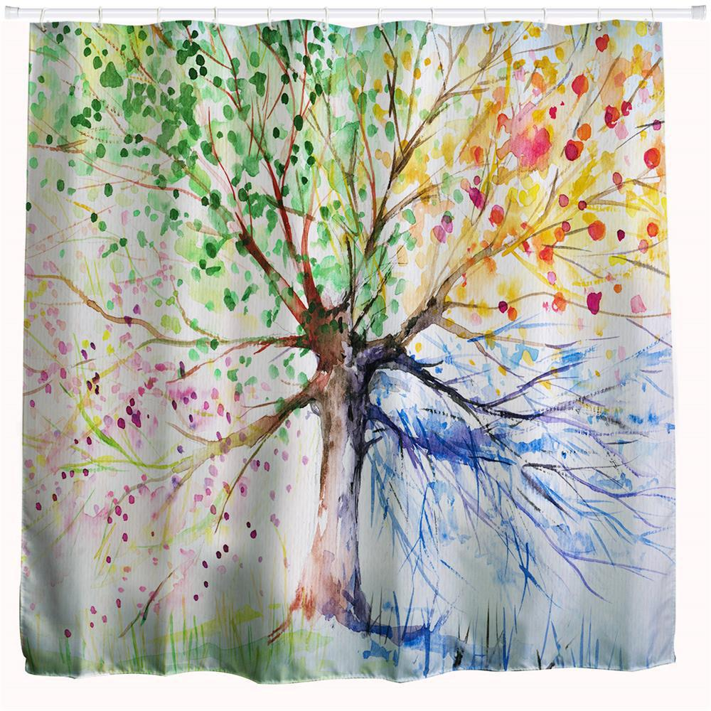 Ink Colorful Tree Polyester Shower Curtain Bathroom Curtain High Definition 3D Printing Water-Proof custom unique design original brown tree ring wood pattern waterproof bathroom shower curtain polyester fabric 48 w x72 h