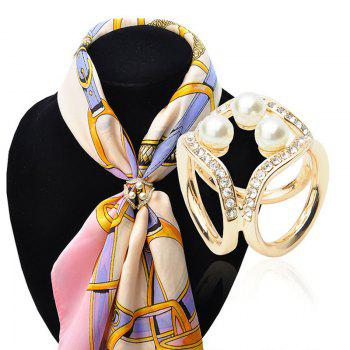 Newest Korean three pearl crystal ring square s fashion wild ladies scarf buckle shoulder clasp accessories - GOLDEN