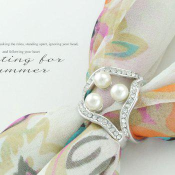 Newest Korean three pearl crystal ring square s fashion wild ladies scarf buckle shoulder clasp accessories - SILVER