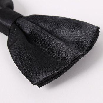 Polyester Silk Solid Color Bow Tie - BLACK