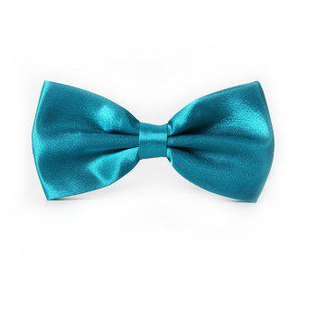 Polyester Silk Solid Color Bow Tie - BLUE BLUE