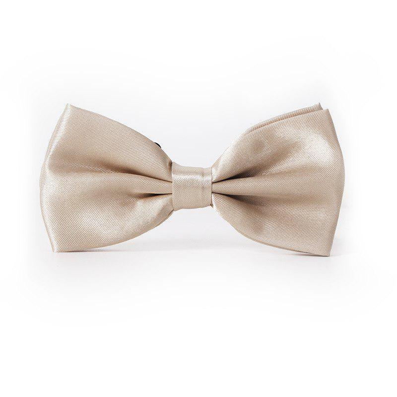 Polyester Silk Solid Color Bow Tie - CHAMPAGNE