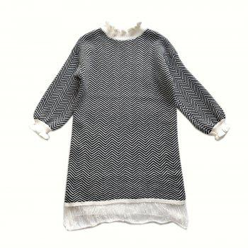 Restoring Ancient Turtleneck Loose Show Thin Corrugated Knitted Dress - BLACK ONE SIZE