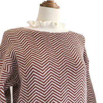 Restoring Ancient Turtleneck Loose Show Thin Corrugated Knitted Dress - RED ONE SIZE