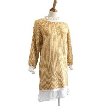 Restoring Ancient Turtleneck Loose Show Thin Corrugated Knitted Dress - MAIZE ONE SIZE