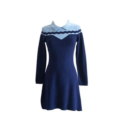 Loveliness Temperament Sweet Wave Long Sleeve Knit Dress - BLUE ONE SIZE