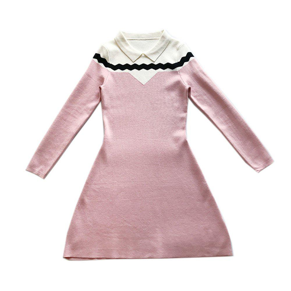 Loveliness Temperament Sweet Wave - Robe en maille à manches longues - ROSE PÂLE ONE SIZE