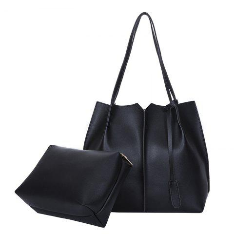 New Style Single Shoulder Bag Fashion Two Pieces Simple handbag - BLACK VERTICAL