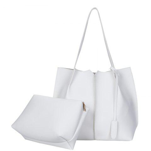 New Style Single Shoulder Bag Fashion Two Pieces Simple handbag - WHITE VERTICAL