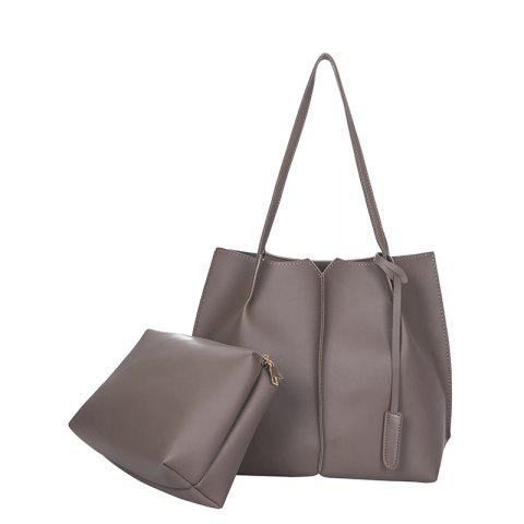 New Style Single Shoulder Bag Fashion Two Pieces Simple handbag - BROWN VERTICAL