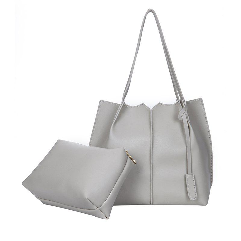 New Style Single Shoulder Bag Fashion Two Pieces Simple handbag - GRAY VERTICAL