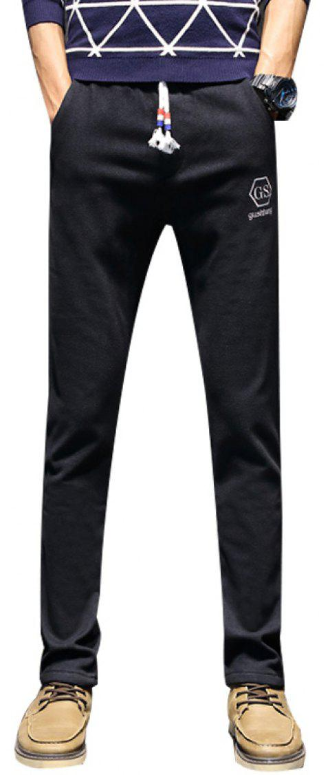 c2753508 Men'S Fleece Lined Skinny Winter Slim Fit Thicken Warm Stretch Pants -  BLACK 28
