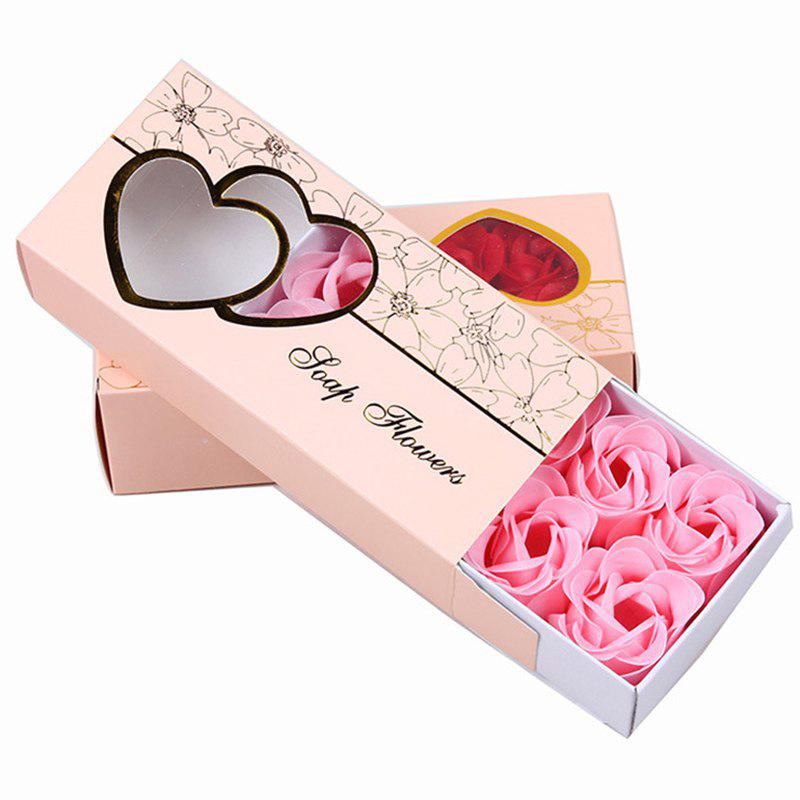 10 Pcs Soap Flowers Sweet Romantic Artificial Roses Box Packing Valentine's Day Gift - PINK 16.8X7.8X4.6CM