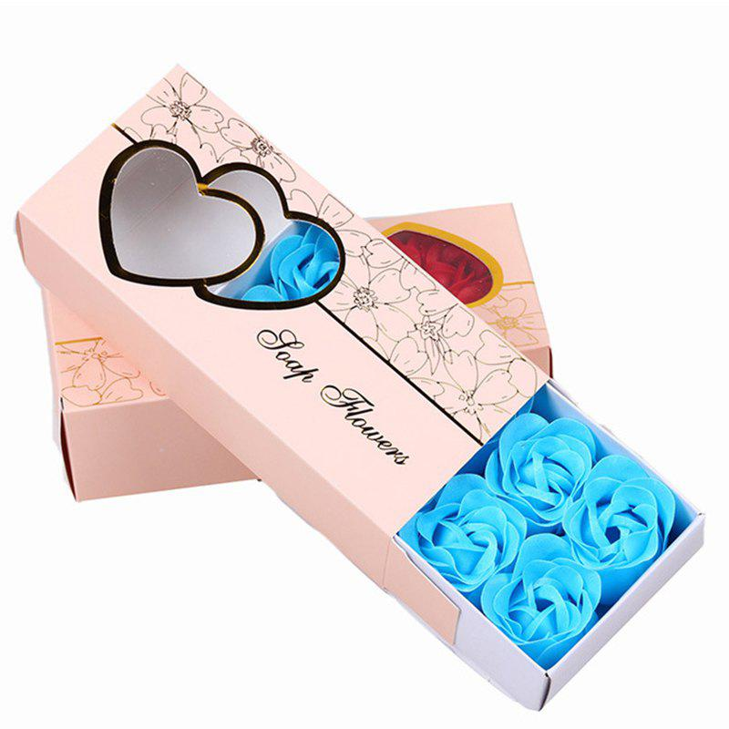 10 Pcs Soap Flowers Sweet Romantic Artificial Roses Box Packing Valentine's Day Gift - BLUE 16.8X7.8X4.6CM