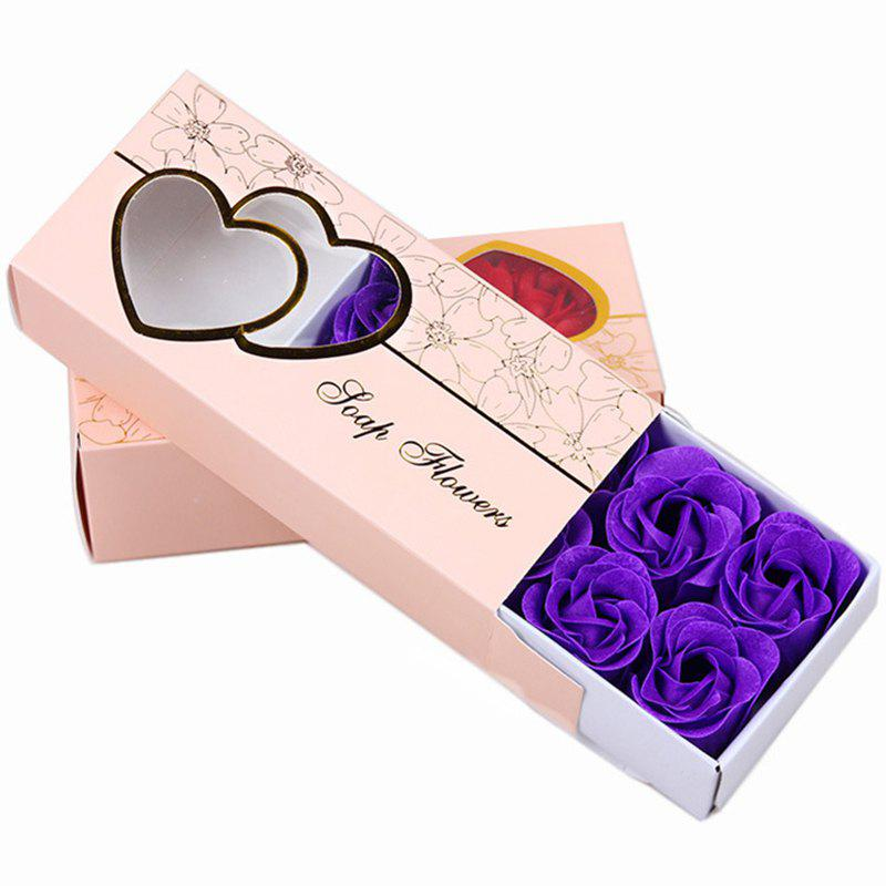 10 Pcs Soap Flowers Sweet Romantic Artificial Roses Box Packing Valentine's Day Gift - PURPLE 16.8X7.8X4.6CM