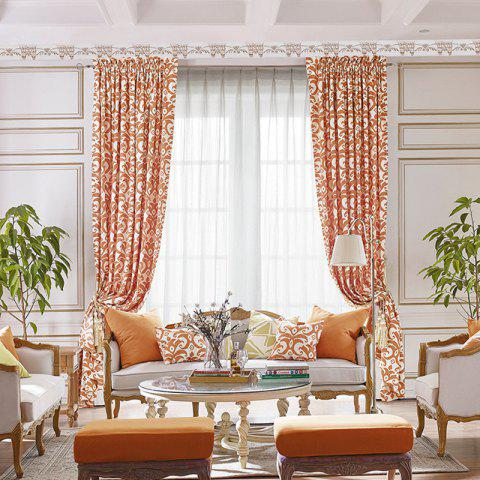 Modern Cotton Printing Blackout Window Curtains for Living Room Bedroom 5 Color - ORANGE W200CM X L250CM (HOOKS TOP)