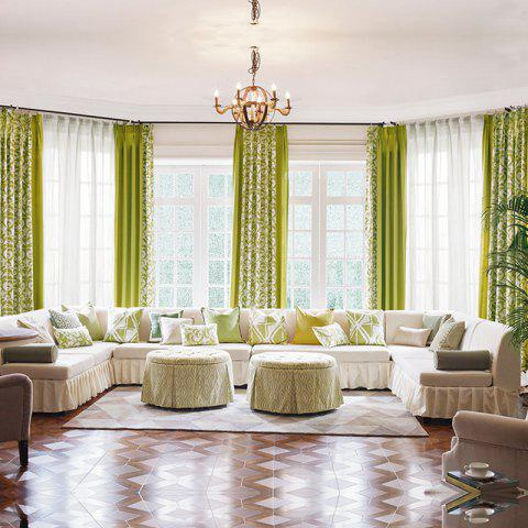 Modern Cotton Printing Blackout Window Curtains for Living Room Bedroom 5 Color - GREEN W300CM X L250CM (GROMMET TOP)