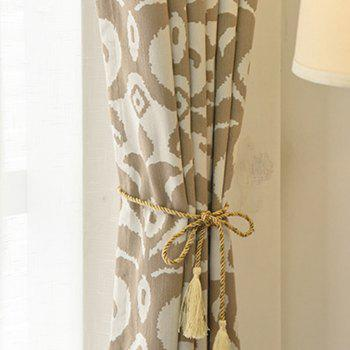 Modern Cotton Printing Blackout Window Curtains for Living Room Bedroom 5 Color - COFFEE W350CM X L250CM (HOOKS TOP)