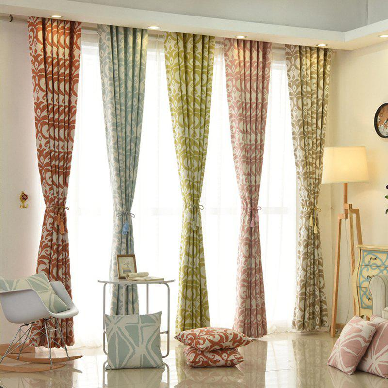 Modern Cotton Printing Blackout Window Curtains for Living Room Bedroom 5 Color - GREEN W250CM X L250CM (HOOKS TOP)