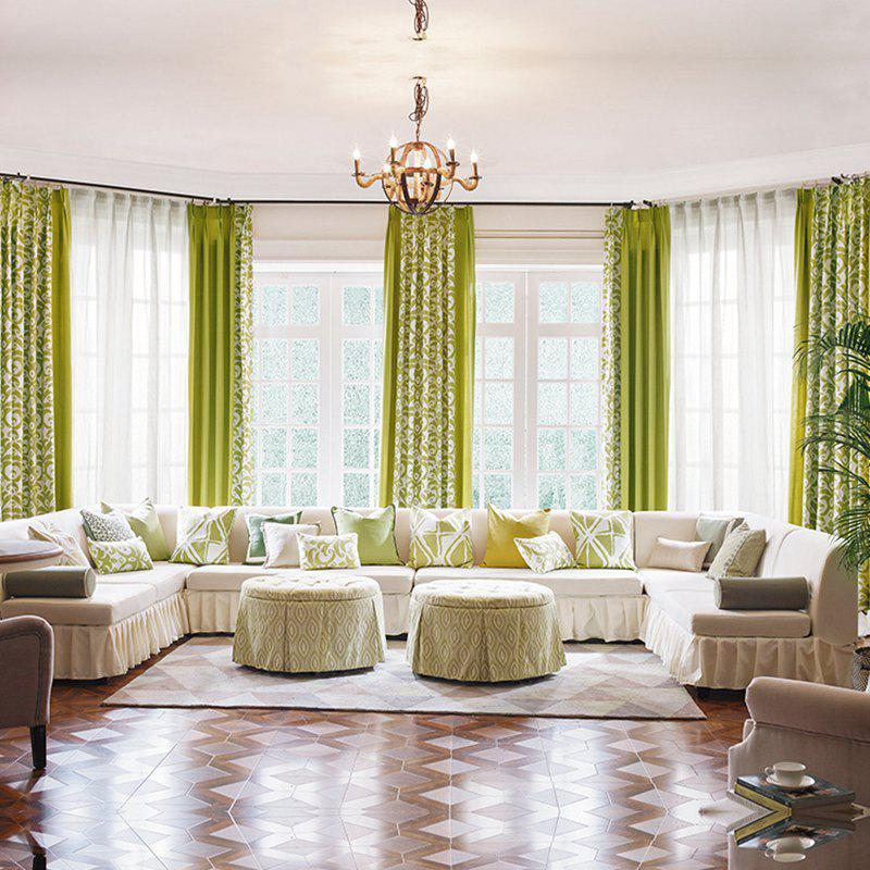 Modern Cotton Printing Blackout Window Curtains for Living Room Bedroom 5 Color - GREEN W150CM X L250CM (GROMMET TOP)