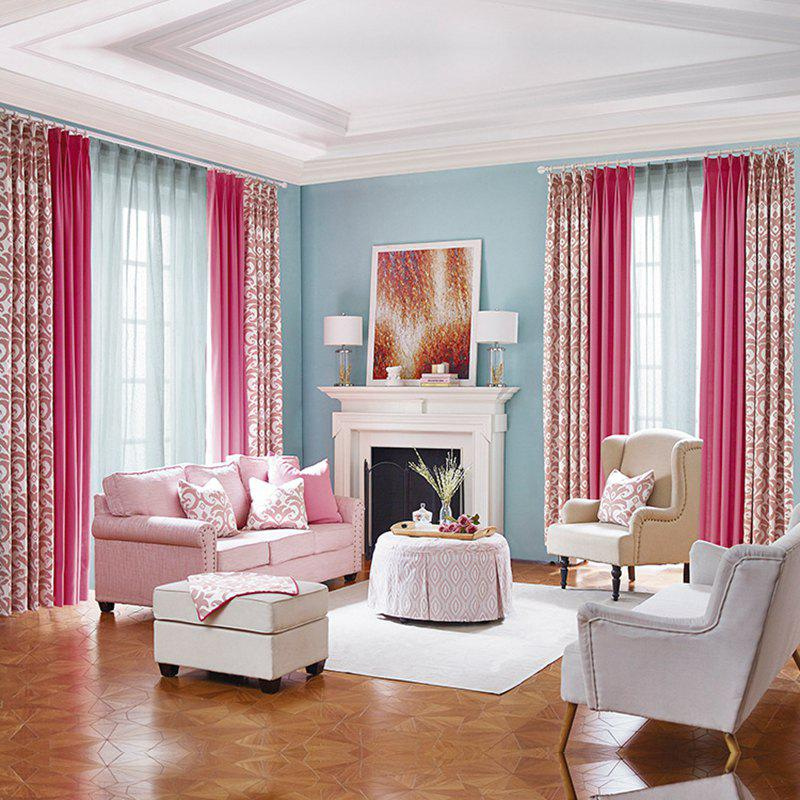 Modern Cotton Printing Blackout Window Curtains for Living Room Bedroom 5 Color - PINK W200CM X L250CM (HOOKS TOP)