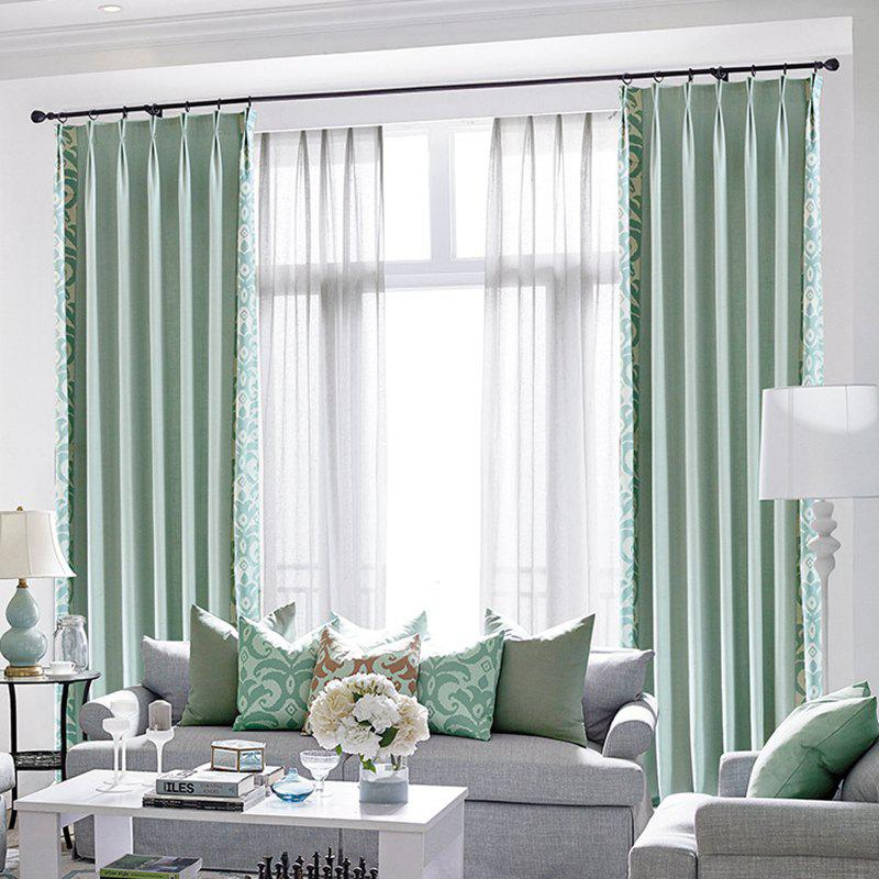 Modern Cotton Printing Blackout Window Curtains for Living Room Bedroom 5 Color - BLUE W200CM X L250CM (GROMMET TOP)