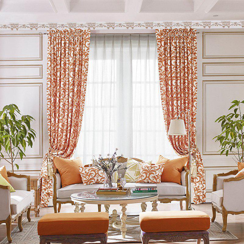 Modern Cotton Printing Blackout Window Curtains for Living Room Bedroom 5 Color - ORANGE W300CM X L250CM (HOOKS TOP)