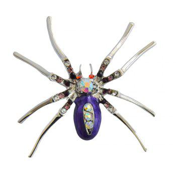 High Quality Glass Crystal Spider Brooch Pins in Red Purple Blue Colors