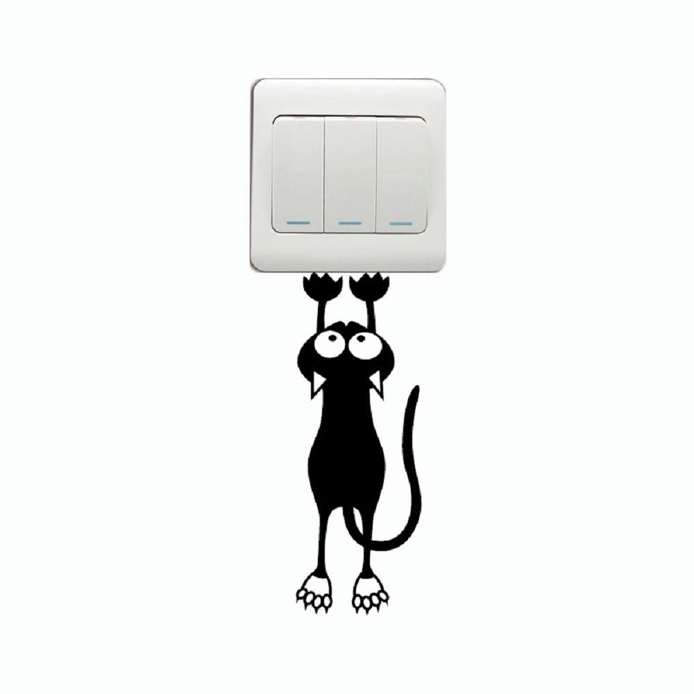 Cat-124 Funny Cat Hanging On Switch Sticker Creative Animal Silhouette Vinyl Wall Decal