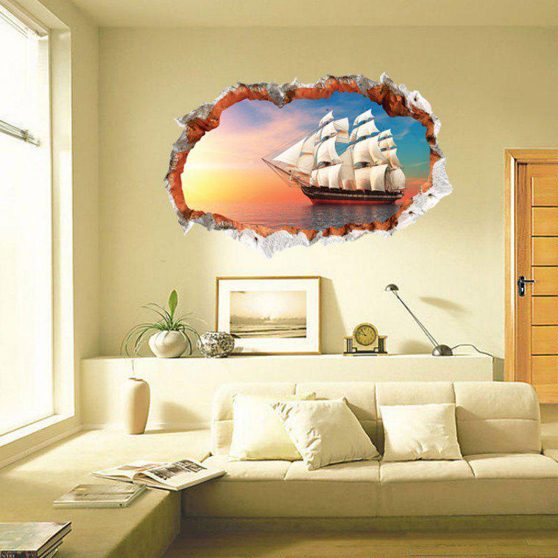 2018 Hot Selling Promotional Wall Sticker 3D Sailboat in The Sea ...