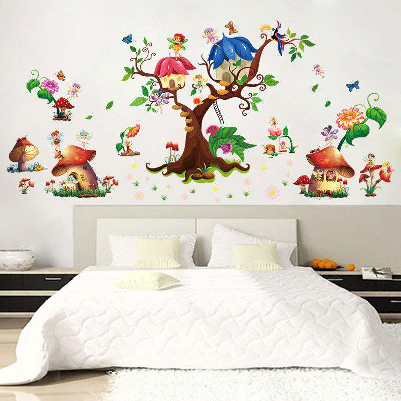 M9272 Mushroom House Wall Stickers PVC Large Trees Fairy Wall Decals For  Baby Room   MIXED