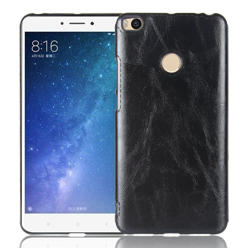 Crazy Horse Pattern PU Leather Soft TPU Back Case for Xiaomi Mi Max 2 - BLACK