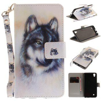 Cover Case for LG Xpower Wolf PU+TPU Leather with Stand and Card Slots Magnetic Closure - WHITE WHITE