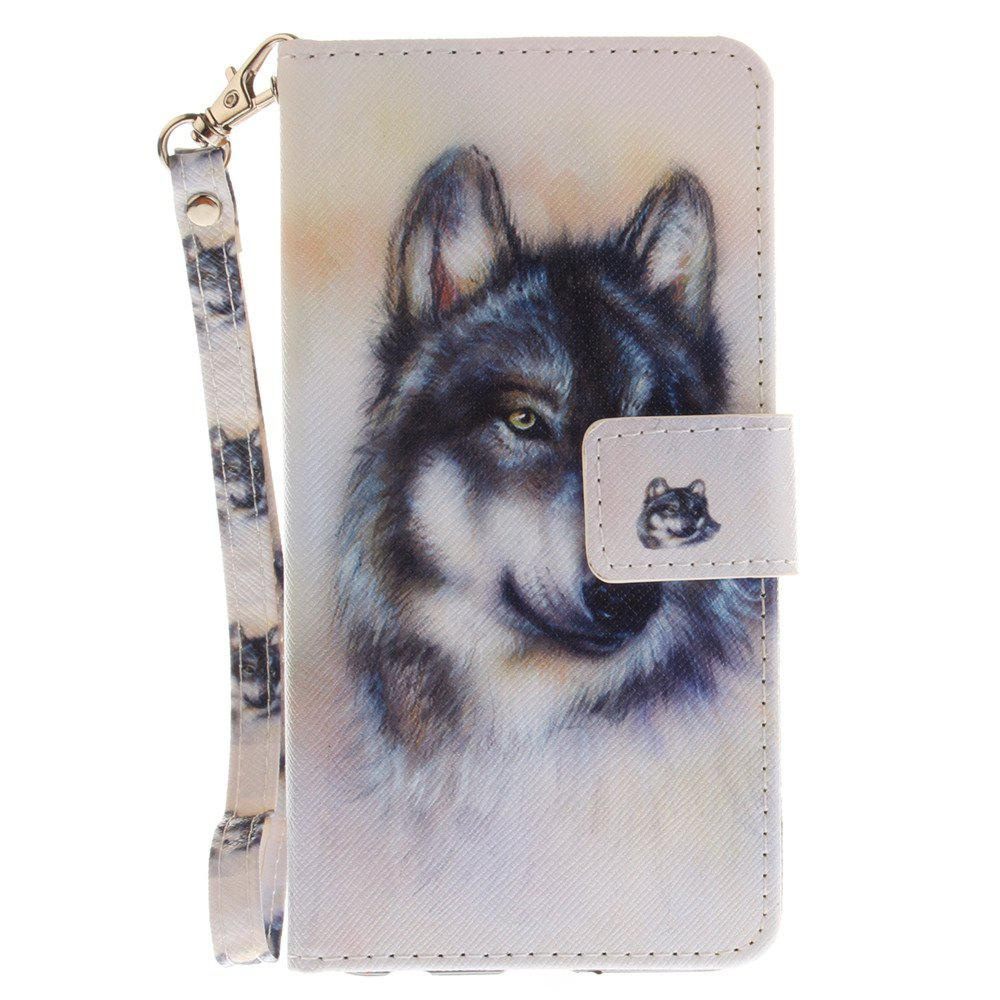 Cover Case for LG Xpower Wolf PU+TPU Leather with Stand and Card Slots Magnetic Closure - WHITE