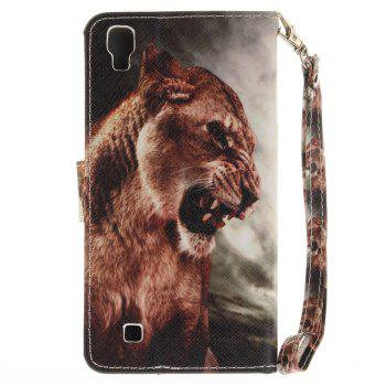 Cover Case for LG Xpower A Male Lion PU+TPU Leather with Stand and Card Slots Magnetic Closure - COLORMIX