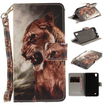 Cover Case for LG Xpower A Male Lion PU+TPU Leather with Stand and Card Slots Magnetic Closure - COLORMIX COLORMIX